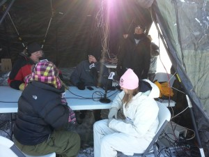 KKMS (AM 980) Radio interview, broadcasting live over the Internet from a frozen lake in Minnesota. Infrasupport firewall and portable LAN equipment on the table in the background.