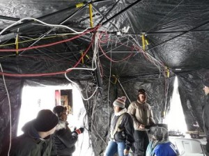 Holes for Heroes 2013. Hooking up KKMS Radio, AM 980, to the Internet in the middle of frozen Medicine Lake In the Twin Cities. Yup, that is an Aruba wireless Access Point near the top of the tent.