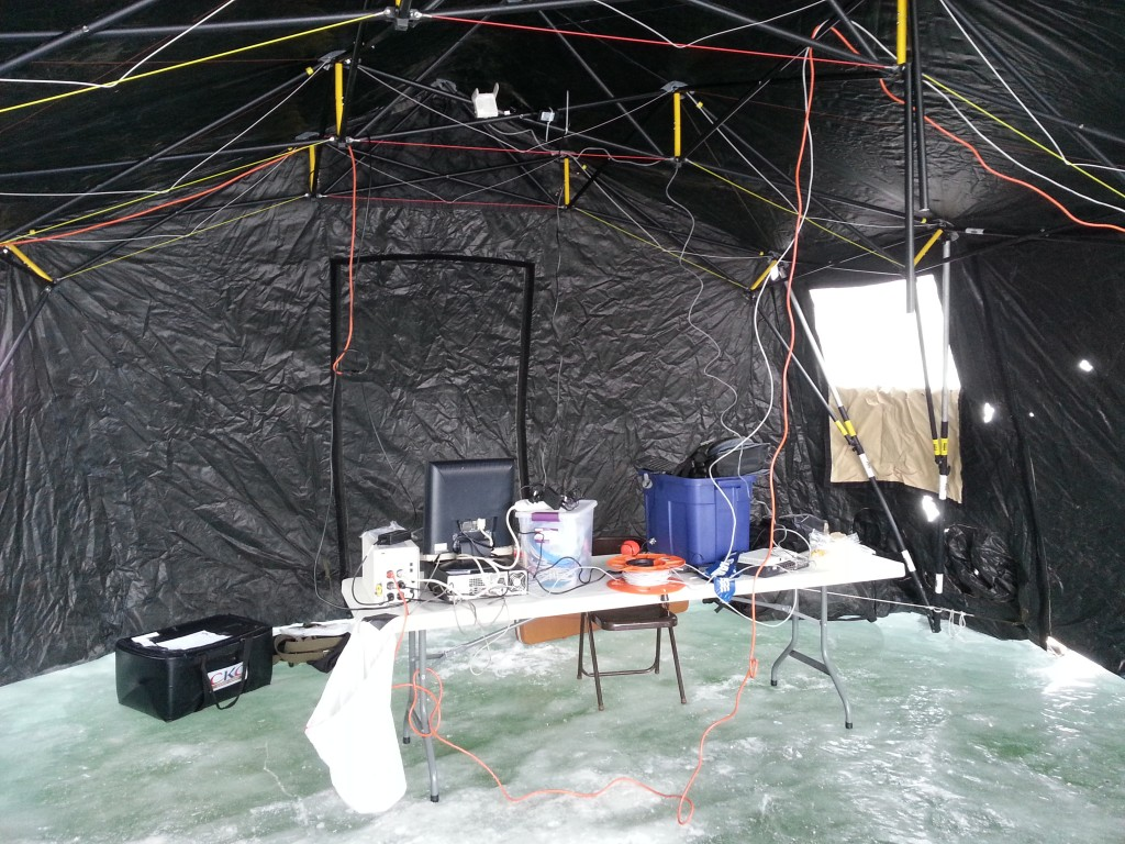 Holes for Heroes 2015 nerve center.  Yup, that floor really is ice.  IT people really do walk on (frozen) water for this event.